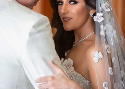 closeup photo of Egyptian bride and groom